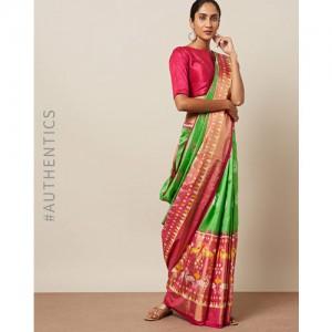 Indie Picks Handloom Pochampally Ikat Pure Silk Saree
