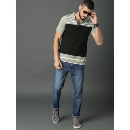 Roadster Men Black & Grey Colourblocked Polo Collar T-shirt