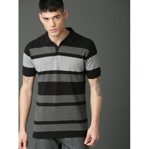Roadster Grey Cotton Striped Polo Collar T-shirt