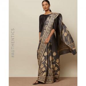 Indie Picks Dabu Handblock Print Pure Tussar Silk Saree