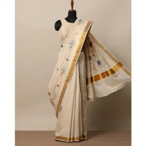 Indie Picks Anand Kerala Kasavu Cotton Tissue Saree with Embroidery