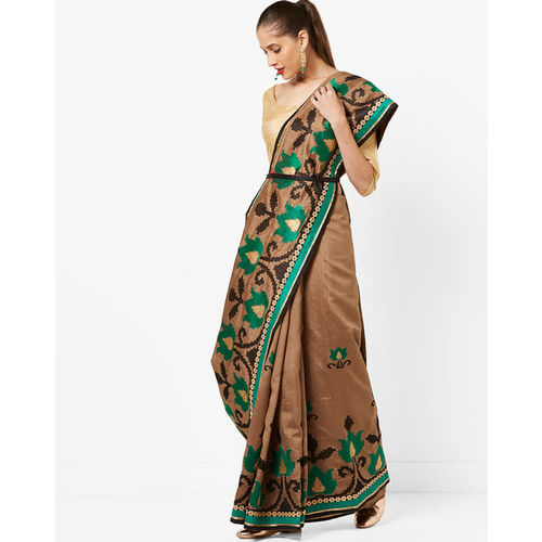 89400a9aebba83 Buy Amori Floral Art Silk Saree with Contrast Border online