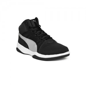 525fa461d35ff9 Puma Men Black Rebound Street v2 Mid-Top Sneakers