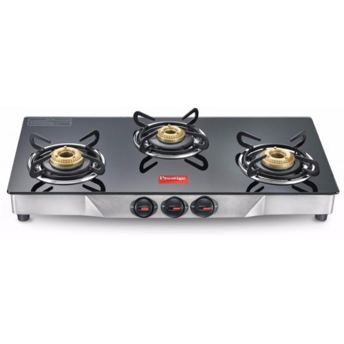 Prestige Deluxe Glass, Stainless Steel Manual Gas Stove(3 Burners)
