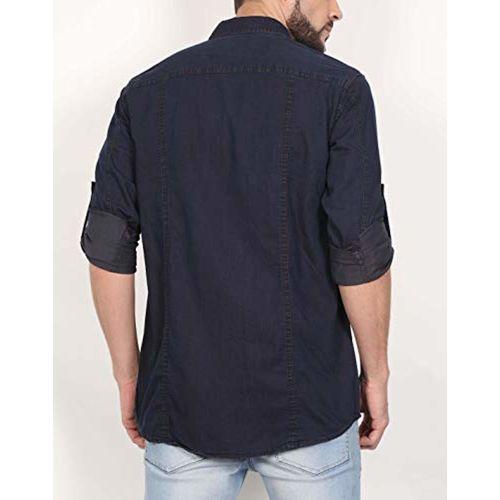 NORTH REPUBLIC Men's Indigo Maroon Plain Denim Full Sleeves Stylish Casual Shirt