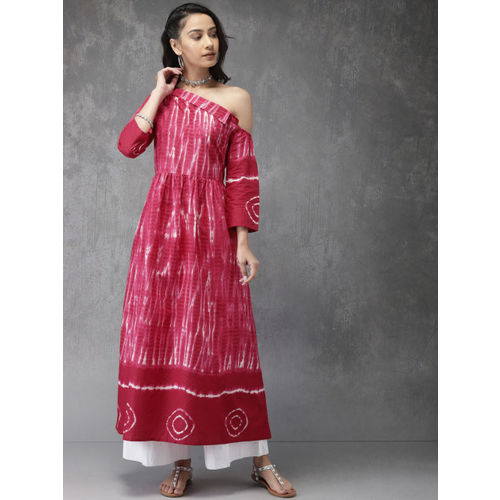 Anouk Women Pink Printed A-Line Kurta