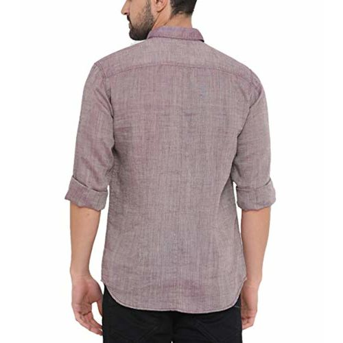 SHOWOFF with Men's Cotton Full Sleeve Slim Fit Solid Purple Casual Shirts