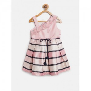 Nauti Nati Girls Pink & Black Polyester Striped Pleated Fit & Flare Dress