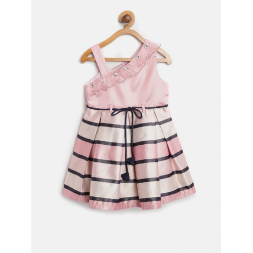 bfe2af2a3 Buy Nauti Nati Girls Pink   Black Polyester Striped Pleated Fit ...
