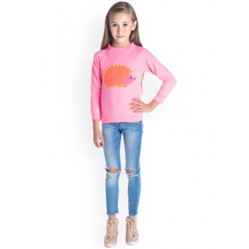 Cherry Crumble Girls Pink Cotton Self Design Sweatshirt
