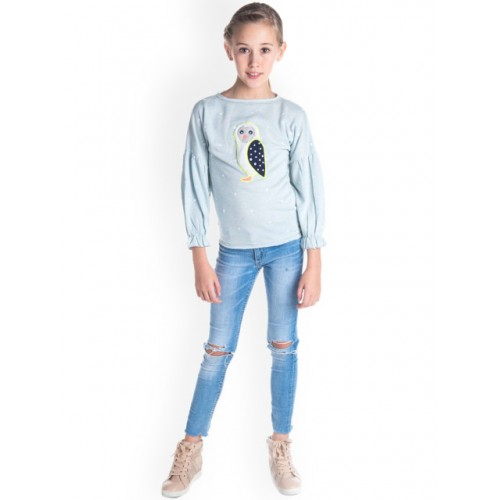 Cherry Crumble Girls Blue Cotton Printed Sweatshirt