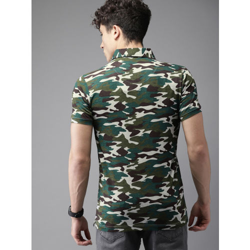 HERE&NOW Olive Green & Grey Printed Polo Collar T-shirt