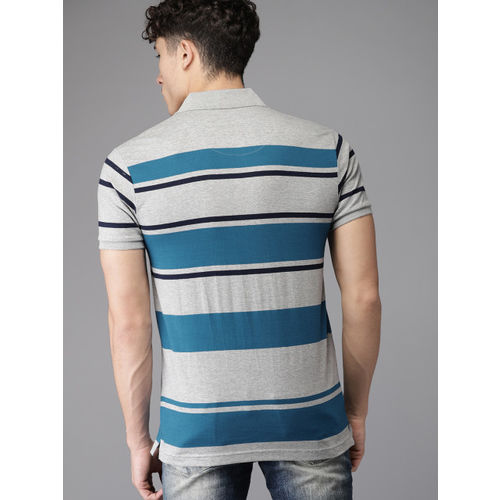 HERE&NOW Grey Melange Striped Regular Fit Polo T-shirt