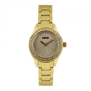 GUESS Women Gold-Toned Shimmery Dial Watch W0230L2