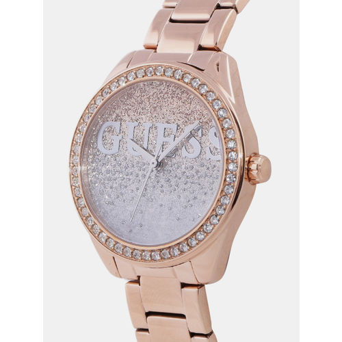 GUESS Women Silver & Gold-Toned Analogue Watch W0987L3