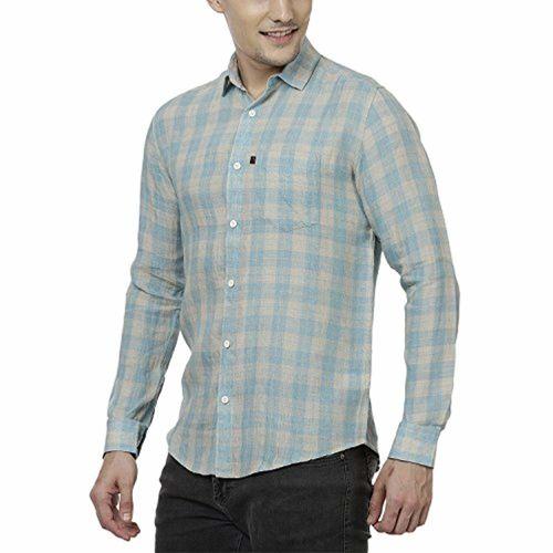 Black Orange Full Sleeve Pure Linen Casual Blue Check Shirt