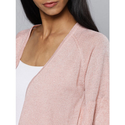 Chemistry Women Pink Solid Open Front Shrug