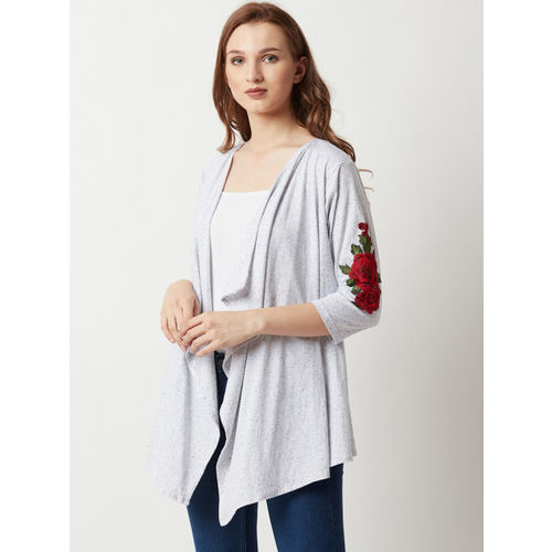 Miss Chase Grey Solid Waterfall Shrug