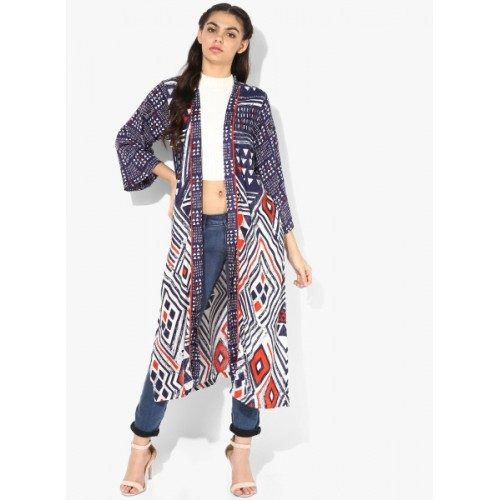 Global Desi Blue Printed Open Front Shrug