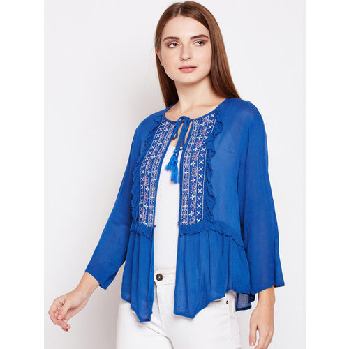 Oxolloxo Women Blue Solid Shrug