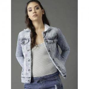 Roadster Blue Cotton Solid Denim Jacket