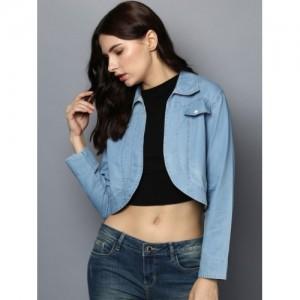 StyleStone Blue Cotton Solid Denim Jacket