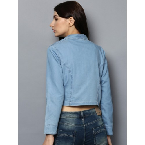 StyleStone Blue Cotton Solid Denim Jacket