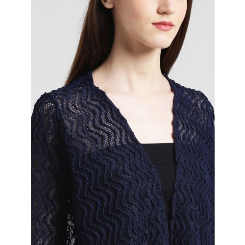 Zink London Navy Blue Self Design Open Front Shrug
