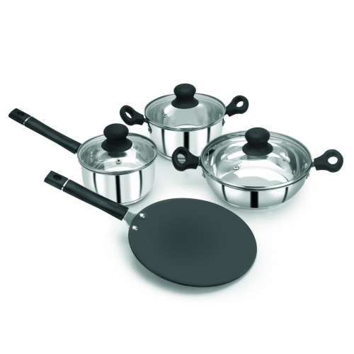 Pristine Induction Compatible 7 PCS Combo Cookware Set with Bakelite Handle