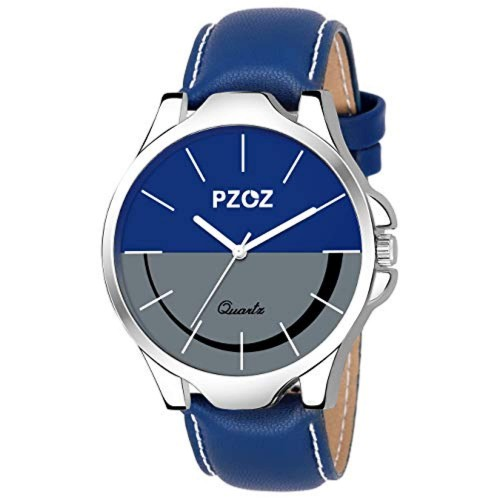 PZOZ Blue & White Leather Strap Analog Watches