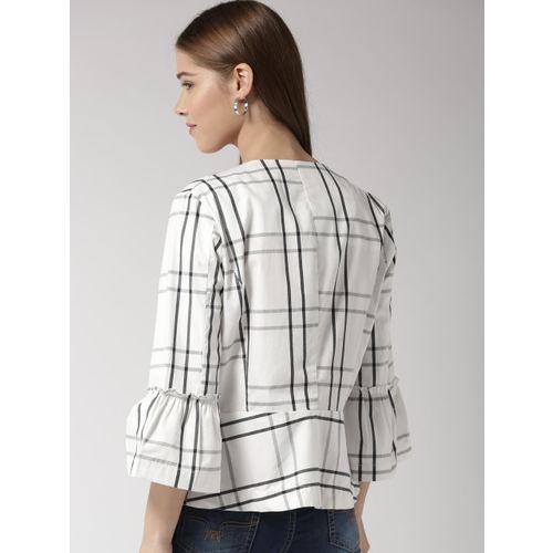 Sera White & Grey Checked Open Front Shrug