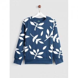 YK Girls Navy Teal Blue & White Printed Sweatshirt