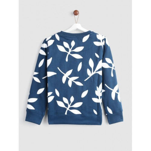 YK Girls Navy Teal Blue & White Printed Sweatshirt