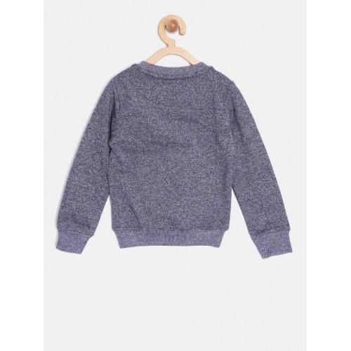 YK Girls Navy Blue Cotton Printed Sweatshirt