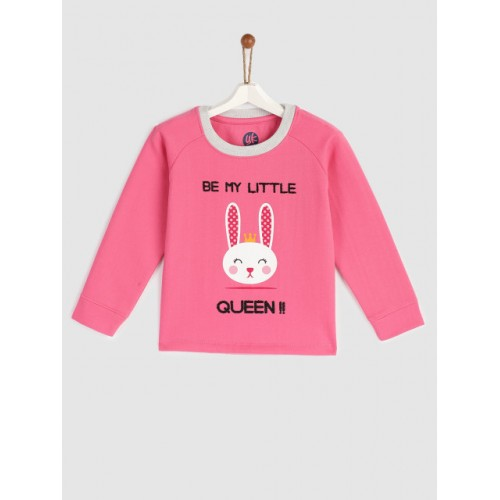 YK Girls Pink Long Sleeves Printed Sweatshirt