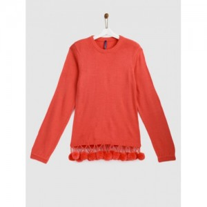 YK Girls Coral Orange Acrylic Pom Pom Pullover