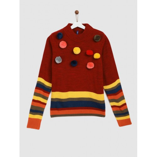 YK Girls Red & Multicoloured Colourblocked Pom Pom Pullover