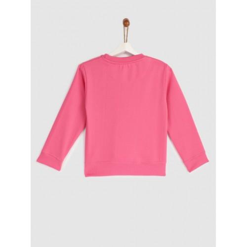 YK Girls Pink Cotton Printed Sweatshirt