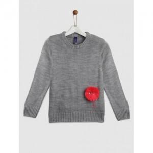 YK Girls Grey Melange Acrylic Solid Pullover Sweater