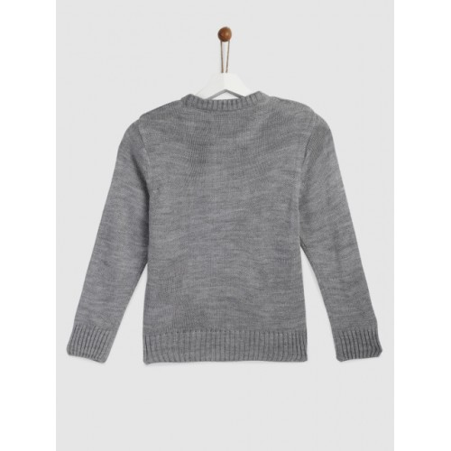 YK Girls Grey Melange Acrylic Solid Pullover Sweater