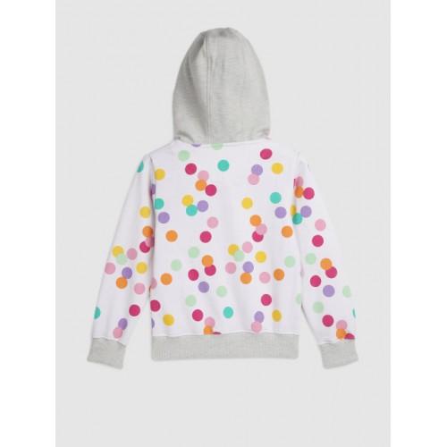 YK Disney Girls White Printed Hooded Sweatshirt