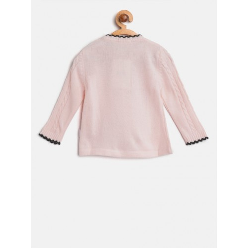 Wingsfield Girls Pink Acrylic Printed Pullover