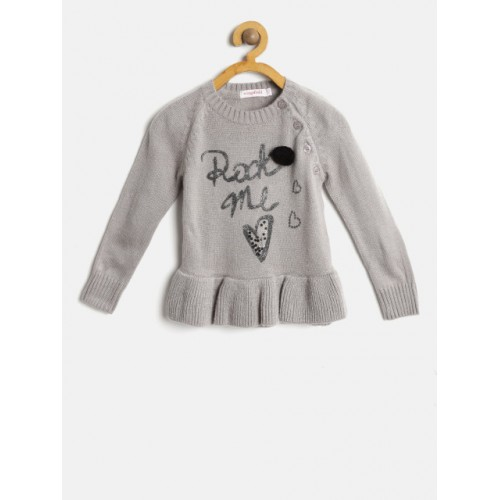 51c325f4b739 Buy Wingsfield Girls Grey Acrylic Printed Pullover online