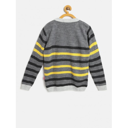 Wingsfield Girls Grey & Yellow Sequinned Striped Pullover