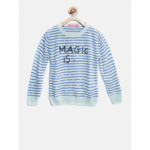 Wingsfield Girls Blue Wool Long Sleeves Striped Pullover