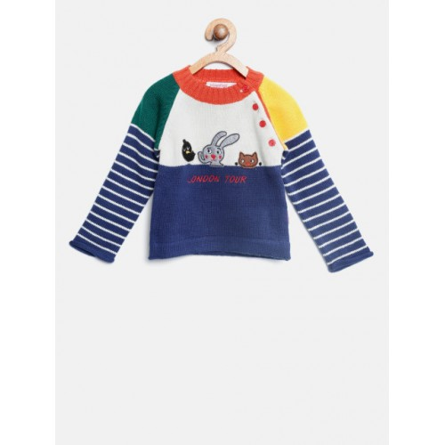 Wingsfield Girls Blue & White Wool Colourblocked Pullover