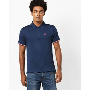 Levis Navy Blue Solid Slim Fit Polo T-Shirt