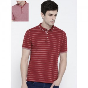 Levis Maroon Striped Polo Collar T-Shirt