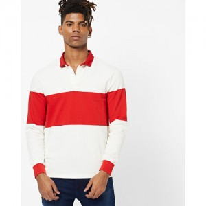 LEVIS White & Red Cotton Color Block T-Shirts
