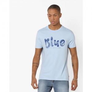 Levis Light Blue CottonPrinted Regular Fit Round Neck T-Shirt